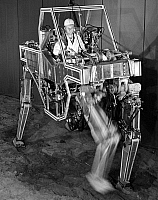 0176279 © Granger - Historical Picture ArchiveROBOT QUADRUPED, 1969.   A prototype robotic quadruped machine developed by General Electrc for the U.S. Army, designed to improve the mobility and materials-handling capabilites of soldiers. Photograph, 1969.