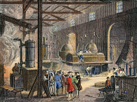 0009060 © Granger - Historical Picture ArchiveSOHO ENGINEERING WORKS  Soho Engineering Works at Birmingham, England, where James Watt (1736-1819) and his partner, Matthew Boulton (1728-1809), manufactured steam engines from 1775 to 1800. French engraving, 19th century.