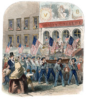 0010949 © Granger - Historical Picture ArchiveATLANTIC CABLE PARADE 1858.   Sailors from the Niagara parading on Broadway past Mathew Brady's studio, after the laying of the first cable to Europe in 1858: colored wood engraving, 1858.