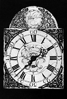 0124814 © Granger - Historical Picture ArchiveEARLY AMERICAN CLOCK.   Clock face by John Fisher, German-born clockmaker of York, Pennsylvania, late 18th century.