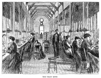 0370147 © Granger - Historical Picture ArchiveWATCHMAKER, 1869.   American watchmakers in the 'train room,' at the Elgin National Watch Company factory in Elgin, Illinois. Wood engraving, American, 1869.