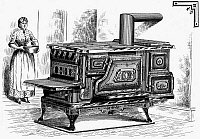 0042017 © Granger - Historical Picture ArchiveSTOVE, 1875.   American patent stove with hot water reservoir and warming oven, 1875.