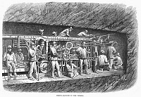 0089005 © Granger - Historical Picture ArchiveBORING TUNNEL, 1869.   Boring machine used in the construction of the Frejus, or Mont Cenis, Rail Tunnel, in the Alps between France and Italy. Line engraving, English, 1869.
