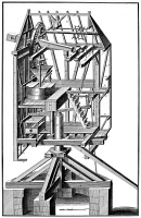 0029465 © Granger - Historical Picture ArchiveWINDMILL, 18th CENTURY.   The interior of a windmill. Line engraving, French, 18th century.
