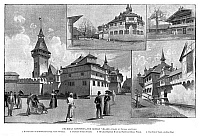 0266903 © Granger - Historical Picture ArchiveCOLUMBIAN EXPOSITION, 1893.   The German Village, featuring a feudal castle of the 15th century and a Bavarian Highland House, at the World's Columbian Exposition at Chicago, 1893. Contemporary American lithograph.