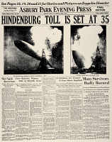 0061806 © Granger - Historical Picture ArchiveHINDENBURG EXPLODING, 1937.   Front page of the Asbury Park (New Jersey) Evening Press, 7 May 1937, reporting on the explosion the previous day of the German zeppelin 'Hindenburg' at Lakehurst, New Jersey.
