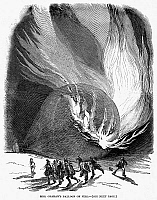 0091069 © Granger - Historical Picture ArchiveBALLOON ACCIDENT, 1850.   Hot air balloon fire. English newpaper engraving, 1850.