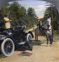 0009782 © Granger - Historical Picture ArchiveMODEL T FORD, 1914.   Model T Ford versus horse and buggy: Panel from an American stereograph, 1914.