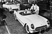 0115316 © Granger - Historical Picture ArchiveCHEVROLET CORVETTE, 1953.   One of the first Chevrolet Corvettes being driven off the assembly line by a worker at the General Motors plant in Flint, Michigan, 1953.