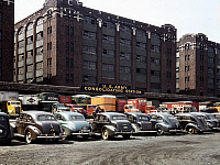 0122506 © Granger - Historical Picture ArchiveCHICAGO: PARKING LOT, 1943.   Parking lot at the freight depot of the U.S. Army consolidating station in Chicago, Illinois. Photograph by Jack Delano, 1943.