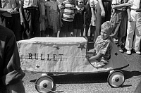 0122608 © Granger - Historical Picture ArchiveSOAPBOX CAR, 1940.   Soapbox auto race at the July 4th celebration in Salisbury, Maryland. Photograph by Jack Delano, July 1940.