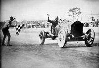 0124619 © Granger - Historical Picture ArchiveINDIANAPOLIS 500, 1912.   Joe Dawson crossing the finish line as the winner of the 1912 Indianapolis 500 Mile Race.