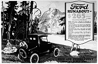0171715 © Granger - Historical Picture ArchiveFORD ADVERTISEMENT, 1920s.   American advertisement for Ford 'Runabout' automobiles, 1920s.