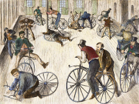 0065922 © Granger - Historical Picture ArchiveBICYCLE RIDING SCHOOL 1869.   In New York City at the time of the first American bicycle craze: line engraving from a contemporary American newspaper.