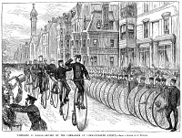 0067984 © Granger - Historical Picture ArchiveBICYCLIST MEETING, 1881.   The First Annual Meet of the League of American Wheelmen at Boston, Massachusetts, on Decoration Day, 1881. Line engraving from a contemporary American newspaper.