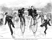 0067989 © Granger - Historical Picture ArchiveBICYCLES ON ICE, 1881.   A race between cyclists and skaters on a frozen stretch of the Schuylkill River, Philadelphia, Pennsylvania, 1881. Wood engraving from a contemporary American newspaper.