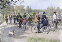 0090228 © Granger - Historical Picture ArchiveBICYCLE TOURISTS, 1896.   A group of bicycle tourists enjoying a ride through the countryside. Illustration by Arthur Burdett Frost, 1896.