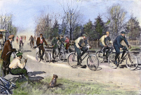 0090229 © Granger - Historical Picture ArchiveBICYCLE RACE, 1896.   Illustration by Arthur Burdett Frost, 1896.