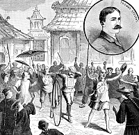 0323653 © Granger - Historical Picture ArchiveTHOMAS STEVENS (1854-1935).   English-born American cyclist, first to circumnavigate the globe by bicycle. Thomas Stevens in China, surrounded by a mob angry about China's war with France at the time. Engraving, 1887.