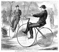 0354803 © Granger - Historical Picture ArchiveVELOCIPEDES, 1868.   American men riding velocipedes. Wood engraving, American, 1868.