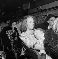 0409397 © Granger - Historical Picture ArchiveBUS TRAVEL, 1943.   Local fares on a Greyhound bus traveling between Louisville and Nashville, United States. Photograph by Esther Bubley, September 1943.