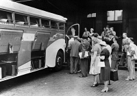 0409514 © Granger - Historical Picture ArchiveBUS STATION, 1940.   People waiting to board a bus at the Greyhound bus station in Harrisburg, Pennsylvania. Photograph by John Vachon, July 1940.
