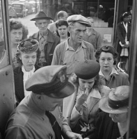 0623179 © Granger - Historical Picture ArchiveGREYHOUND BUS, 1943.   People boarding a Greyhound bus at a small town between Chicago, Illinois and Cincinnati, Ohio. Photograph by Ester Bubley, September 1943.