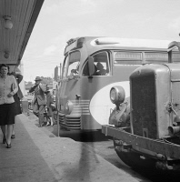 0623181 © Granger - Historical Picture ArchiveGREYHOUND BUS DEPOT, 1943.   A Greyhound bus depot at a small town between Cincinnati, Ohio and Chicago, Illinois. Photograph by Esther Bubley, September 1943.