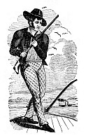 0176664 © Granger - Historical Picture ArchiveMIKE FINK (c1770-1822).   American frontiersman, standing on a keelboat. Wood engraving, 19th century.