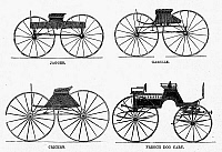 0099062 © Granger - Historical Picture ArchiveCARRIAGE TYPES, c1860.   Four carriage types manufactured by G. & D. Cook & Company, New Haven, Connecticut. Wood engraving, c1860.