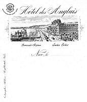0079470 © Granger - Historical Picture ArchiveHOTEL STATIONERY.   Stationery from Hotel des Anglais (without the Ruhl) at Nice, France. Late 19th century.
