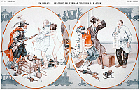 0089565 © Granger - Historical Picture ArchiveHIGHWAY ROBBERY, 1922.  'Traveling: Highway Robbery Then and Now.' Illustration by C. Hérouard for a 1922 issue of 'La Vie Parisienne.'