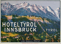 0095830 © Granger - Historical Picture ArchiveLUGGAGE LABEL.   Luggage label from the Hotel Tyrol Innsbruck in Austria, early 20th century.