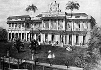 0126864 © Granger - Historical Picture ArchiveBANGKOK: ORIENTAL HOTEL.   View from the river of the Oriental Hotel in Bangkok, Thailand (then Siam). Drawing, late 1880s.