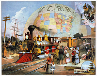 0011443 © Granger - Historical Picture ArchiveWORLD'S RAILROAD SCENE.   The World's Railroad Scene (Illinois Central Railroad): lithograph poster, 1882.