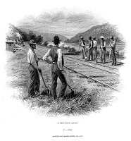 0034832 © Granger - Historical Picture ArchiveRAILROAD CONSTRUCTION.   Steel banknote engraving, American, c1870.