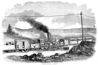 0057240 © Granger - Historical Picture ArchiveRAILROAD COLLISION, 1853.   Railroad accident at Paterson, New Jersey, involving the collision of two locomotives. Wood engraving from a newspaper of 1853.