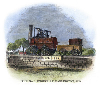 0064635 © Granger - Historical Picture ArchiveENGLISH LOCOMOTIVE, 1825.   The No. 1 Engine at Darlington in 1825. Wood engraving, English, 1875.