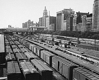 0099455 © Granger - Historical Picture ArchiveCHICAGO: RAILYARD, c1965.  Illinois Central Railroad freight yard at Congress Street, Chicago, c1965.