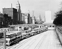 0099460 © Granger - Historical Picture ArchiveCHICAGO TRAIN YARD, c1965.   Piggyback trains headed for the Illinois Central Railroad freight yard at Congress Street, Chicago, c1965.
