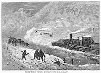 0099463 © Granger - Historical Picture ArchiveTRAIN IN SNOWSTORM, 1866.   Clearing the snow for a Highland Railway train in Scotland. Wood engraving, English, 1866.