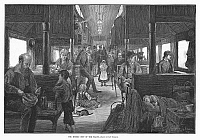 0102933 © Granger - Historical Picture ArchiveEMIGRANT COACH CAR, 1886.   'The Modern Ship of the Plains.' The emigrant coach on a west-bound Northern Pacific express train passing through the Dakota Territory. Wood engraving, American, 1886, after a drawing by Rufus Fairchild Zogbaum.