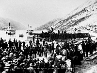 0118362 © Granger - Historical Picture ArchiveYUKON RAILROAD, 1900.   Driving the last spike, 29 July 1900, at Carcross, Yukon, Canada, on the White Pass & Yukon Railroad, connecting the port of Skagway, Alaska, with Carcross on Bennett Lake.