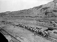 0118918 © Granger - Historical Picture ArchivePANAMA: RAILWAY, c1912.  A gang of approximately 150 men shifting track by hand. Photographed by George W. Harris and Martha Ewing, c1912.