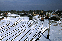 0123006 © Granger - Historical Picture ArchiveMASSACHUSETTS: RAILROAD.   Train and several sets of railroad tracks in the snow in Massachusetts. Photograph by Jack Delano, December 1940 or January 1941.