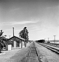 0123039 © Granger - Historical Picture ArchiveCALIFORNIA: RAILROAD, 1943.   The railroad station in Bagdad, California on the Atchison, Topeka and Santa Fe Railroad between Needles and Barstow, California. Photograph by Jack Delano, March 1943.