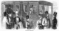 0130684 © Granger - Historical Picture ArchiveTRAIN TRAVEL: FIRST CLASS.   First class railway passengers in England. Wood engraving, English, 1847.