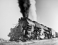 0175970 © Granger - Historical Picture ArchiveLOCOMOTIVE: 'BIG BOY.'   A 4017 Big Boy locomotive of the Union Pacific Railroad, west of Harriman, Wyoming. Photograph, c1958.