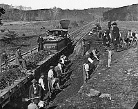 0259345 © Granger - Historical Picture ArchiveVIRGINIA: RAILROAD, c1861.   Construction of the Aquia Creek and Fredericksburg Railroad in Virginia. Photograph by Mathew Brady, c1861.