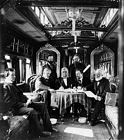 0259701 © Granger - Historical Picture ArchiveRAILROAD DIRECTORS, c1868.   The directors of the Union Pacific Railroad in a private car. Second from left, seated: Silas Seymour, Sidney Dillon, Thomas Clark Durant, and John Duff. Photograph by A.J. Russell, c1868.